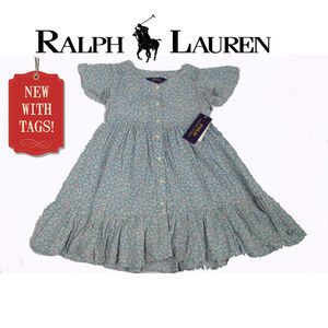 NWT Ralph Lauren 4T Toddler Blue Floral Dress